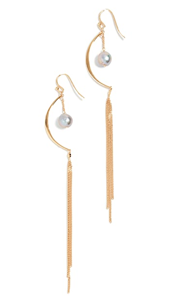 Chan Luu Grey Freshwater Cultured Pearl Chain Earrings