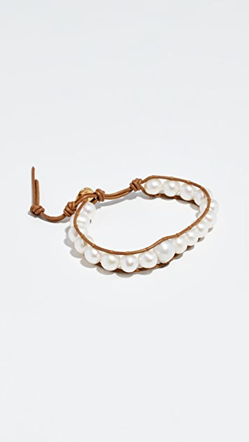 Chan Luu Cultured Pearl Leather Bracelet