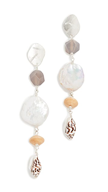 Chan Luu Freshwater Cultured Pearl Shell Drop Earrings