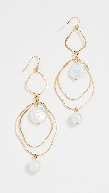 Chan Luu Gold Drop Earrings with Keshi Pearls