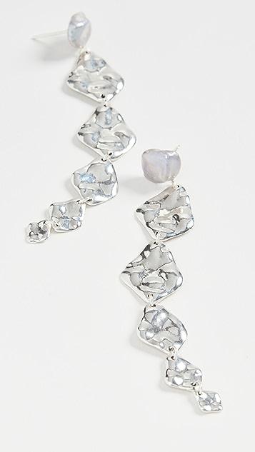 Chan Luu Grey Pearl Linear Drop Earrings