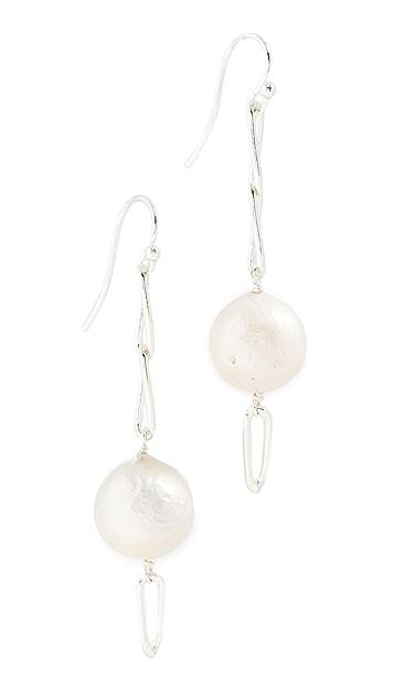 Chan Luu White Pearl Linear Drop Earrings