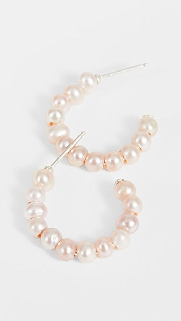 Chan Luu Pink Pearl Hoop Earrings