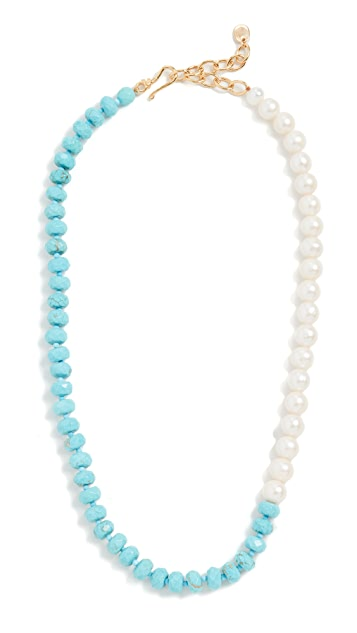 Chan Luu Turquoise and Pearl Necklace