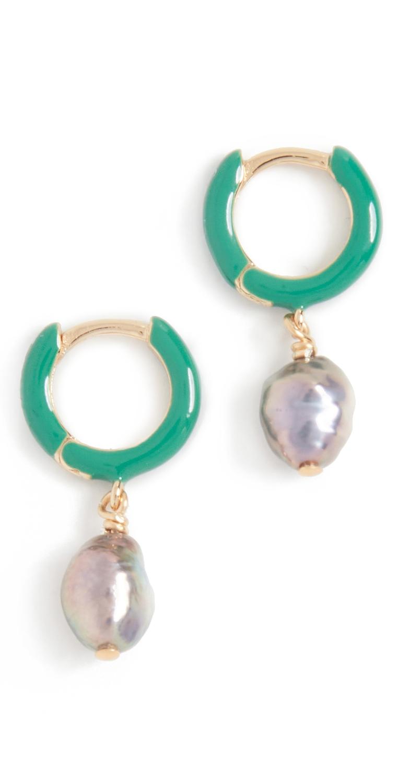 Green Huggie Earrings
