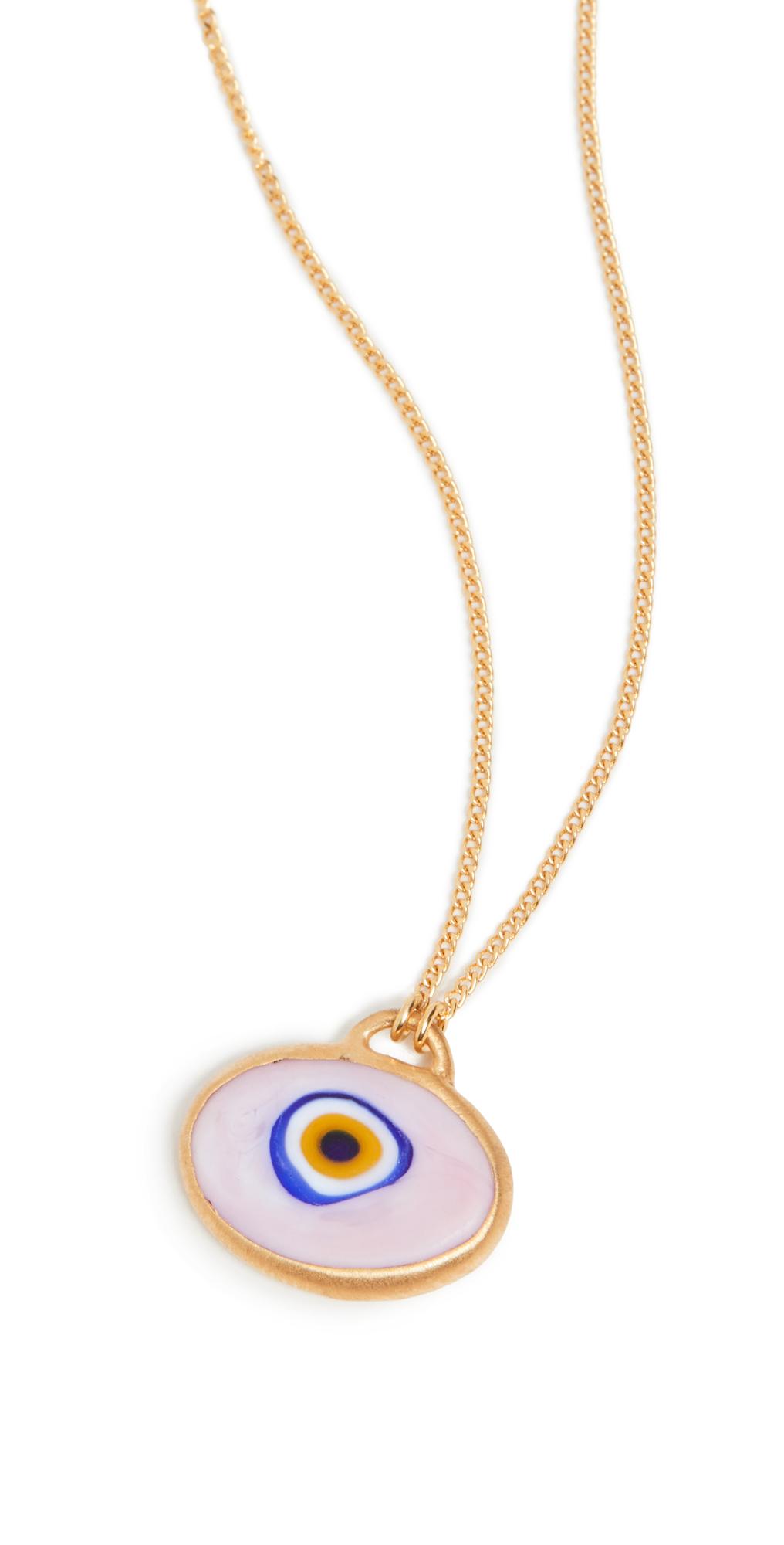 Pink Grand Evil Eye Pendant Necklace