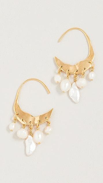 Chan Luu Pearl Cascade Gold Hoops