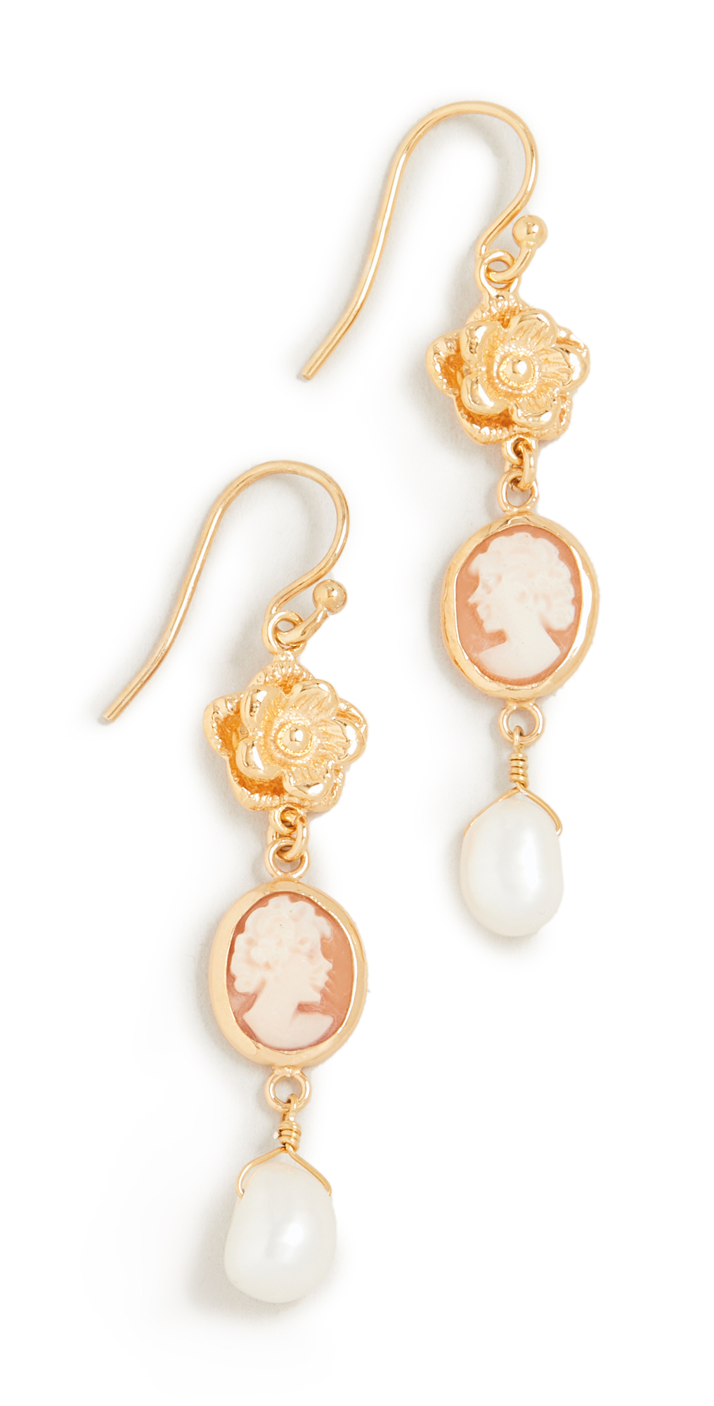 Cameo and Flower Drop Earrings