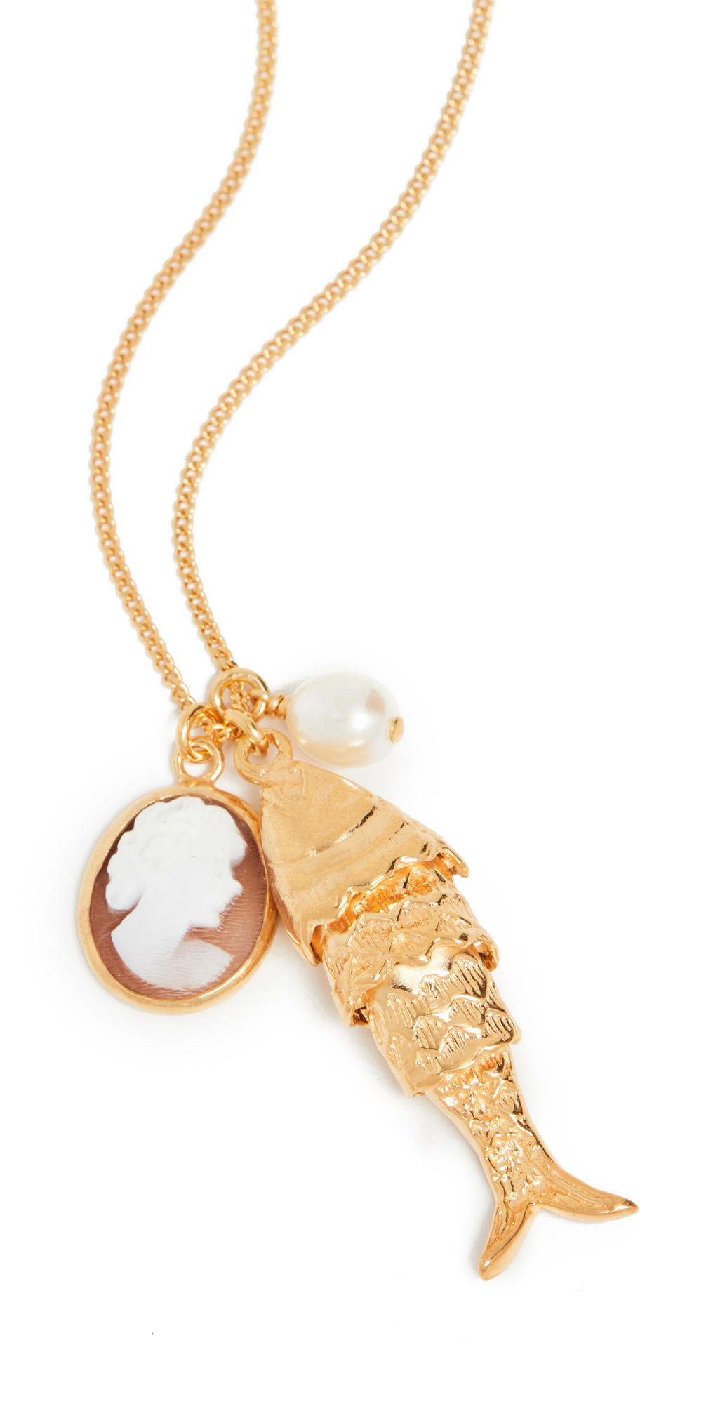 Cameo Fish and Pearl Necklace