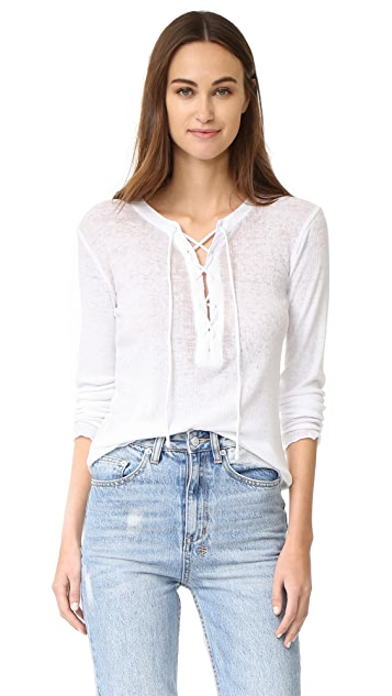 Chaser Vintage Rib Lace Front Long Sleeve