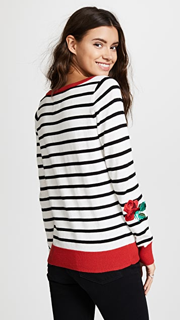 Chaser Striped Garden Embroidery Sweater