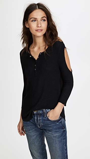 Chaser 3/4 Sleeve Cold Shoulder Henley - True Black