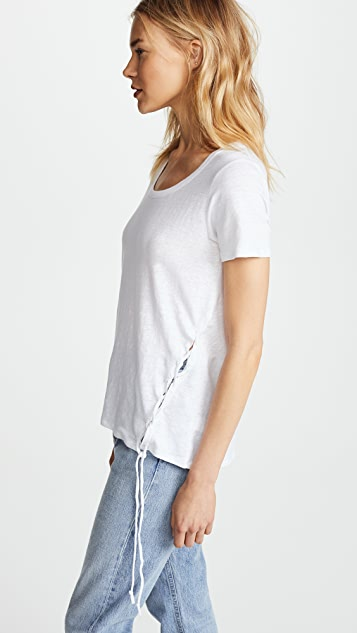 Chaser Asymmetrical Short Sleeve Lace Up Tee