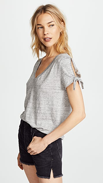 Chaser Tie Sleeve Tee with Deep V Neck