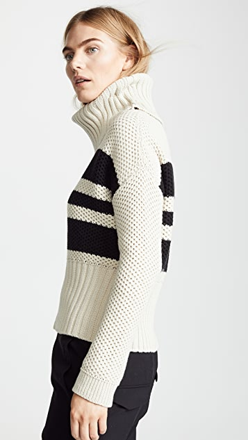 Chaser Striped Turtleneck Sweater