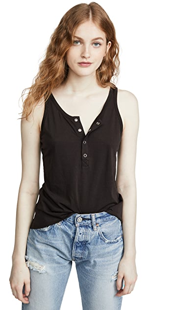 Chaser Vintage Jersey Snap Front High Low Henley Baby Tank