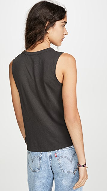 Chaser Gauzy Cotton Cropped High Low Muscle Tank