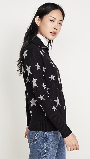 Chaser 星星嵌花落肩漏斗领套头衫