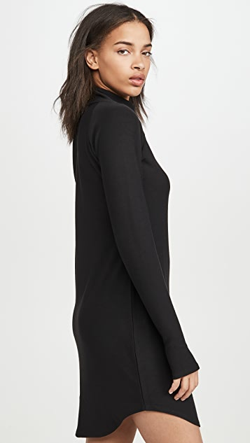 Chaser Cozy Knit Long Sleeve Raglan Turtleneck Mini Dress