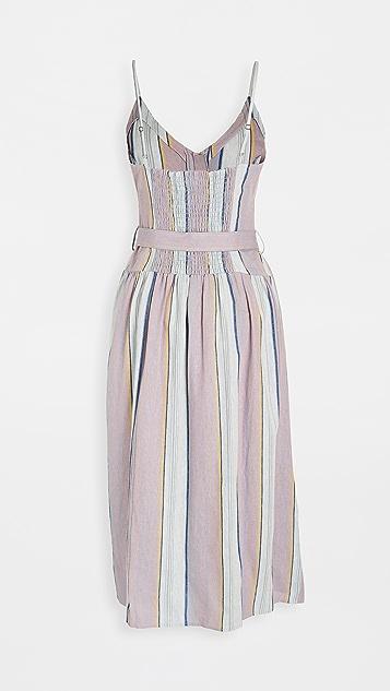Chaser Smocked Linen Dress