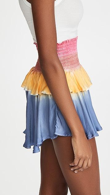 Chaser 丝质基本款抽褶褶边迷你半身裙