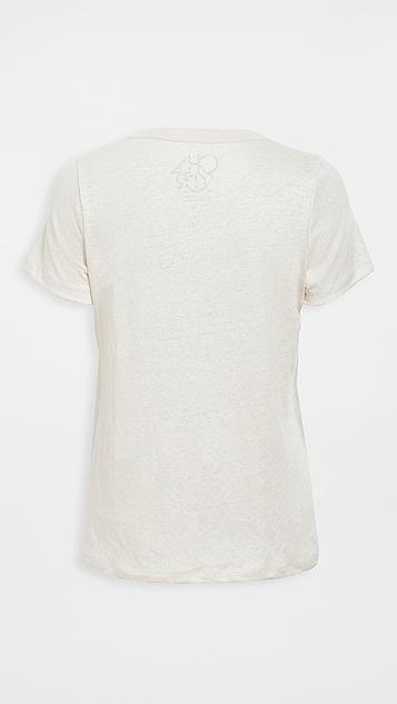 Chaser 亚麻平纹针织面料短袖基本款圆领上衣