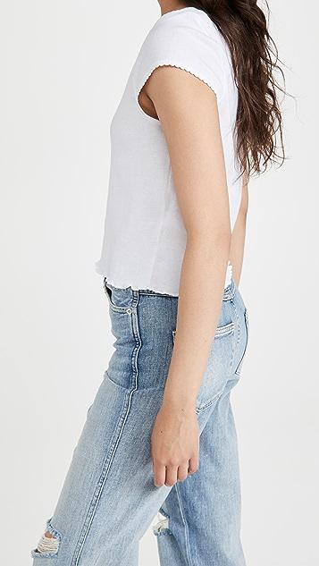 Chaser Baby 罗纹扇贝饰边短袖 T 恤