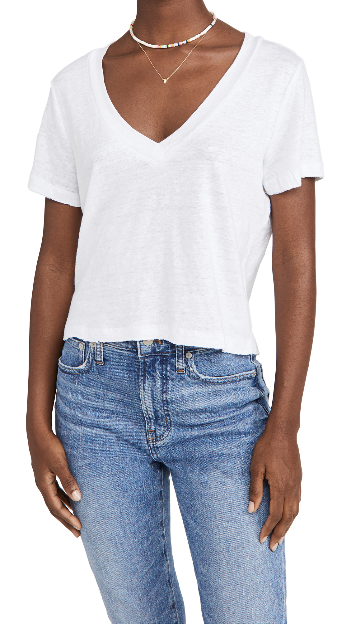 Chaser Linen Crop Pocket Tee