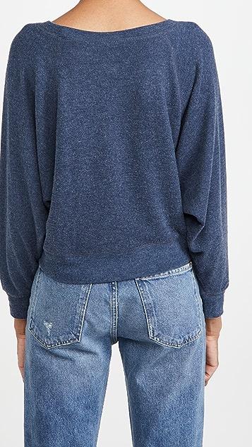 Chaser Bliss 针织落肩蝙蝠袖短款套头衫