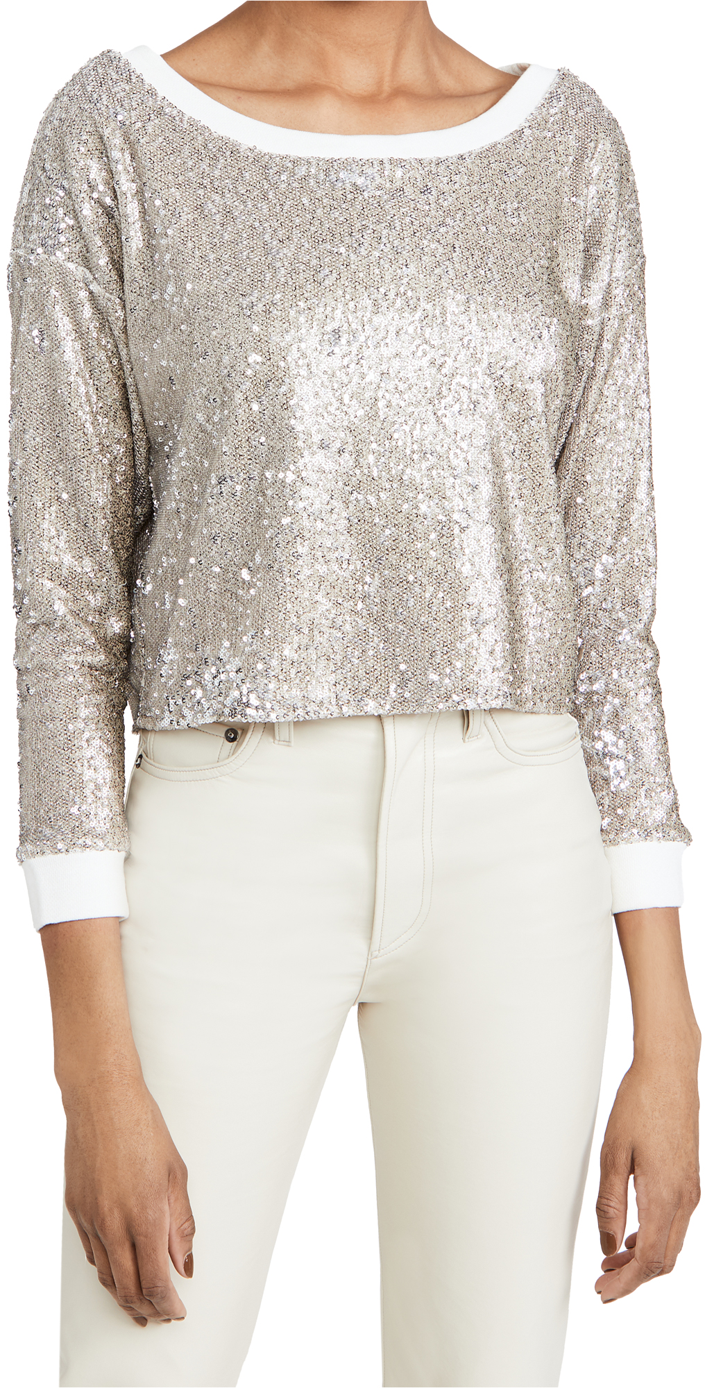 Chaser Sequin Terry Cropped Pullover