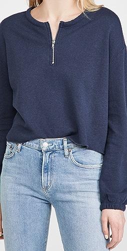 Chaser - Cashmere Fleece Blouson Sleeve Half Zip Pullover