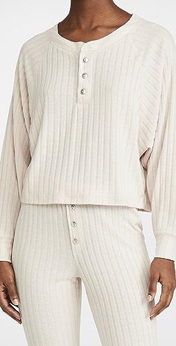 Chaser - Poor Boy Rib Raglan Henley Sweater