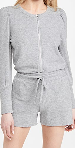 Chaser - Rpet Bliss Knit Puff Sleeve Zip Up Romper