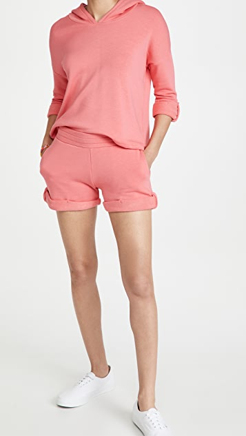 Chaser 竹节纹法式毛圈布翻卷裤脚短裤
