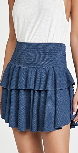 Chaser - Cozy Rib Flouncy Tiered Mini Skirt