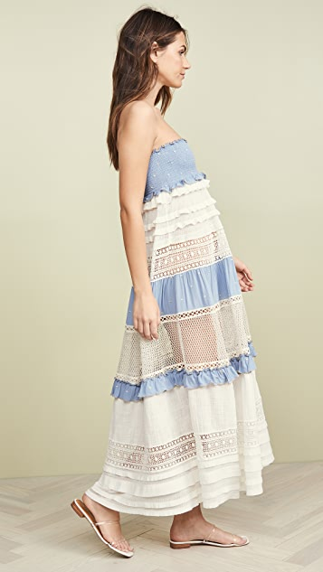 CHIO Smocked High Waist Maxi Skirt / Dress
