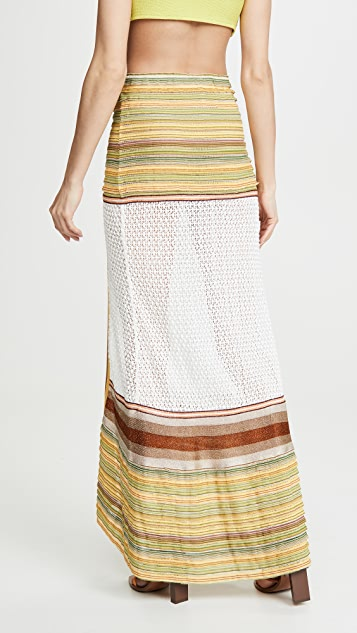 CHIO Long Skirt With Knit Ruffle and Mesh Trim