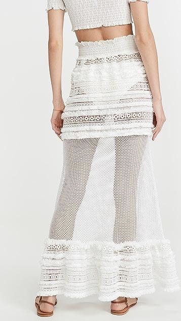 CHIO Макси-юбка с бахромой в технике макраме