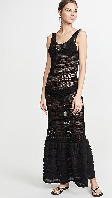 CHIO 荷叶领直筒长连衣裙
