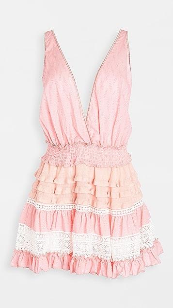 CHIO 针织荷叶边短连衣裙