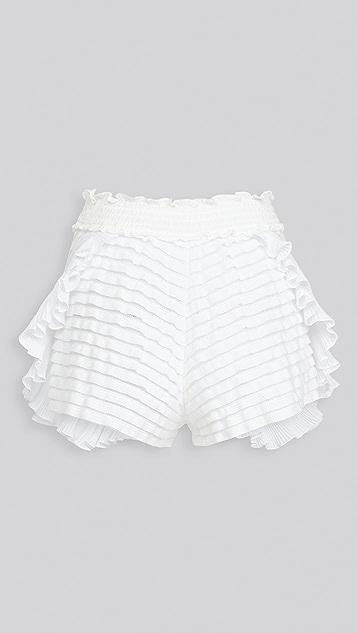 CHIO 针织荷叶边短裤