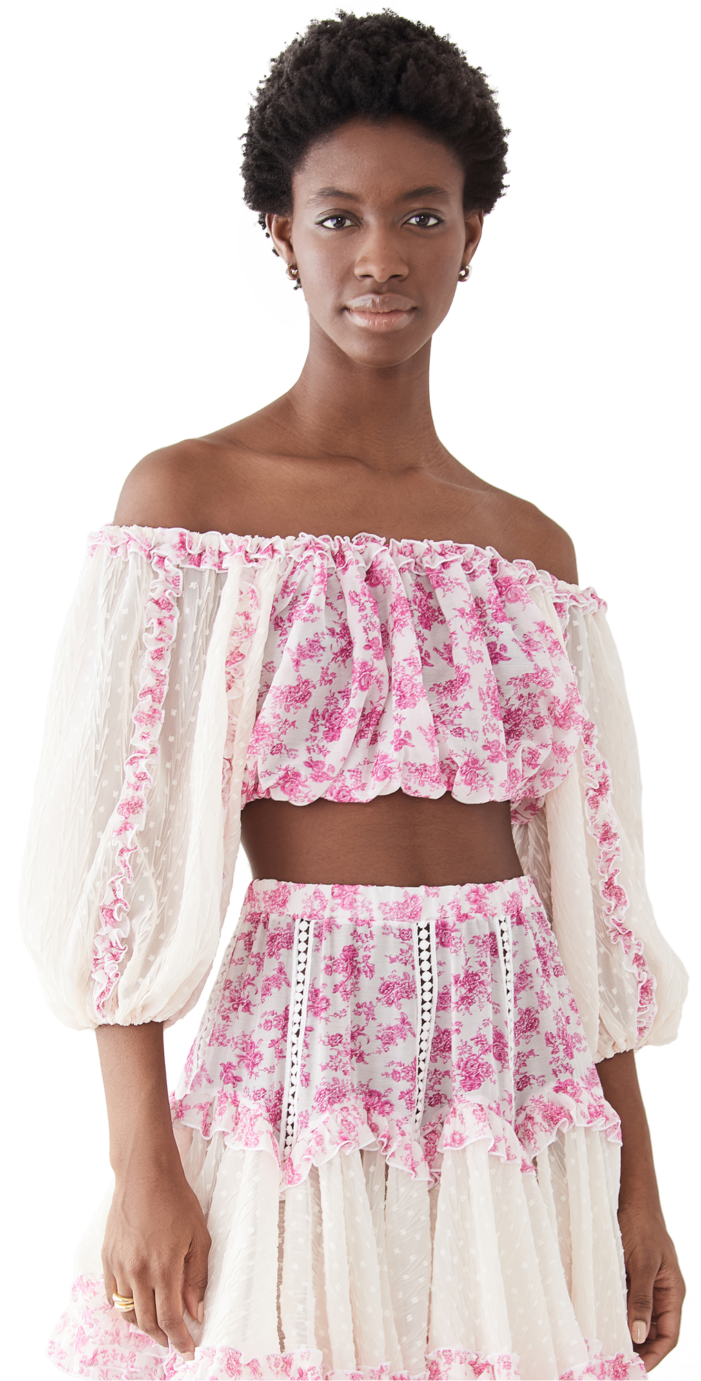 CHIO Floral Frill Crop Top