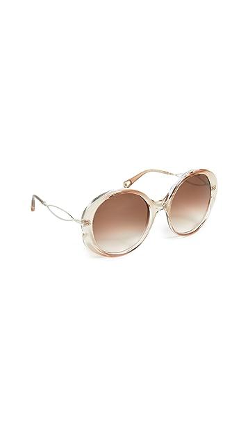 Chloe Солнцезащитные очки Petal в круглой металлической оправе