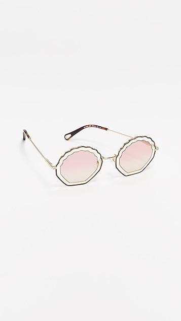 Chloe Круглые солнцезащитные очки с зубчатым краем Tally
