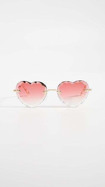 Chloe Зубчатые солнцезащитные очки Rosie Heart