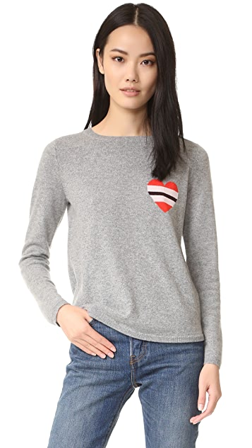 Chinti and Parker Striped Heart Cashmere Sweater