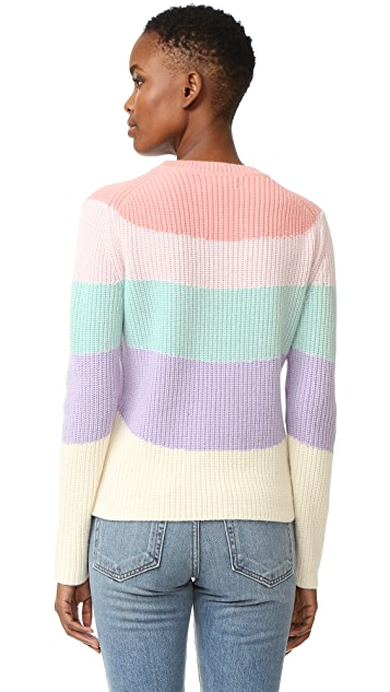 Chinti and Parker Ribbed Rainbow Intarsia Sweater