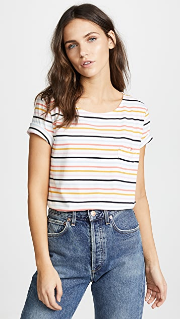 Chinti and Parker Heart Pocket Tee - Ecru/Multi