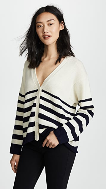 Chinti and Parker Graduated Stripe Cashmere Cardigan