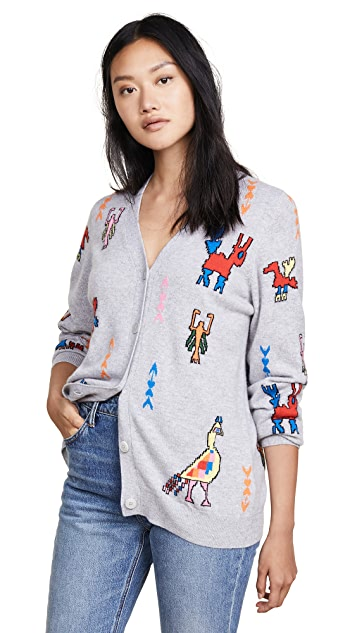 Chinti and Parker Tattoo Cashmere Cardigan